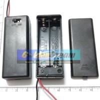 2x AAA Battery Holder Baterai Case Batere Box Kotak Batre dengan Tutup dan Saklar dan Kabel