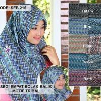 Jilbab segi empat bolak balik Bahank katun import | segi empat motif tribal