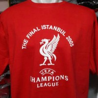 KAOS COTTON COMBED 20&24 S MERAH LIVERPOOL FINAL CHAMPIONS TH 2005 ISTANBUL,TURKEY,ALL SIZE,READY STOCK.