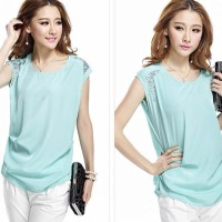 Sparkling Beads Attached Pretty Chiffon Blouse