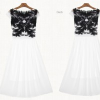 HIGH QUALITY Pearl Chiffon Embroidery Dress