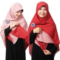 Jilbab syari segi empat Bolak Balik Dusty Pink - Merah Bata