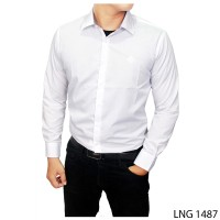 Kemeja Pria Putih Polos Slim Fit Katun Import Putih LNG 1487
