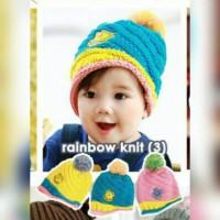 rainbow knit topi korea anak