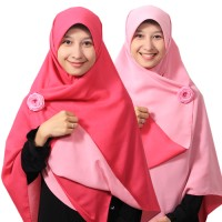 Jilbab syari segi empat Bolak Balik Pink fanta - Baby Pink