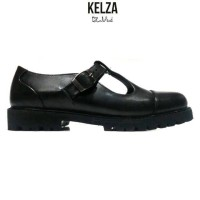 sepatu casual hitam docmart wanita kelza za.