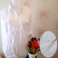 kemeja blus putih wanita kantong/saku 2 motif salur