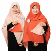 Jilbab syari segi empat Bolak Balik Terakota-Peach