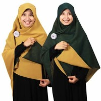 Jilbab syari segi empat Bolak Balik hijau botol-kuning kunyit