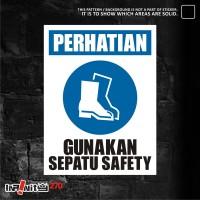 sticker safety sign K3 alat pelindung kaki 30cm WSKIM-016
