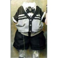 Setelan Anak 3 in 1 Kemeja Vest Grey Lengan Pendek Dasi dan Celana Pdk