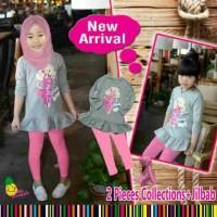 setelan baju muslim anak merk Little Pineapple/Barbie pink