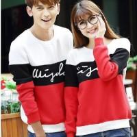 Kaos Couple Lengan Panjang / Baju Pasangan 3w putih hitam merah