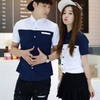 Kemeja Couple Lengan Pendek / Baju Pasangan bunga biru putih