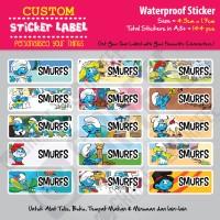 Sticker Label Smurfs - Stiker nama waterproof