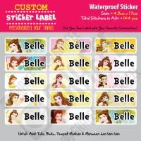 Sticker Label Belle Princess - Stiker nama waterproof