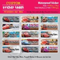 Sticker Label Cars Disney - Stiker nama waterproof