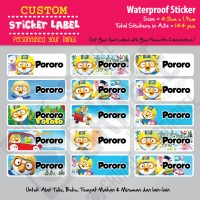 Sticker Label Pororo - Stiker nama waterproof