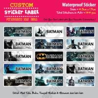 Sticker Label Batman - Stiker nama waterproof