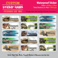 Sticker Label Dinosaurs - Stiker nama waterproof