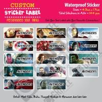 Sticker Label Avengers - Stiker nama waterproof