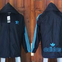 Jaket Adidas Hitam List Biru Parasut(jaket disrto,termurah.2016,217)