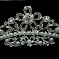 Mahkota Wedding Modern / Aksesoris Rambut Pengantin Tiara CR0186D