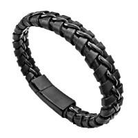 Genuine Leather Bracelet Titanium Steel Gelang Kulit Asli Pria Hitam
