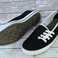 Sepatu Converse All Star Flat Women Tali Samping Hitam Strip Putih