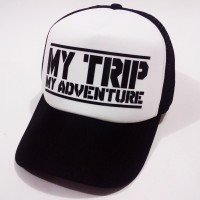 Topi My Trip My Adventure Trucker Lengkung Hitam Putih