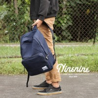 Tas Ransel Ninenine Blue Denim Backpack Muat Laptop 15 Anti Air Gan!