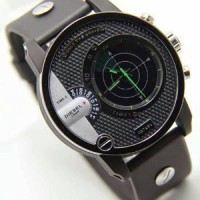jam tangan Diesel Radar Rubber Hitam Jarum Hijau Kw Super