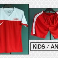 Jual Grosir/Ecer Kaos Setelan Anak Nike T90 III Merah Putih 2016 Murah