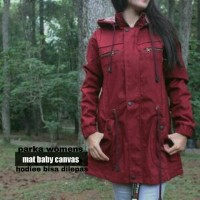 PARKA WOMAN RED CANVAS / JAKET PARKA WOMEN MAROON WATERPROOF / WANITA