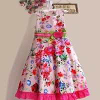 FN64. DRESS P.PRINCESS FULL FLOWER PINK RENDA BWH BAN HIJAU BUNGA