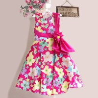 FN65. DRESS P.PRINCESS FULL FLOWER PINK BAN PITA BUNGA TALI BLKG