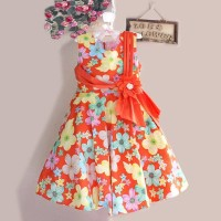 FN63. DRESS P.PRINCESS FULL FLOWER ORANGE BAN PITA BUNGA TALI BLKG