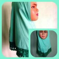 PROMO jilbab balita renda  hijau tosca