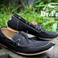 Sepatu Casual Santai Dr Faris Hitam Suede / Pria Cowok