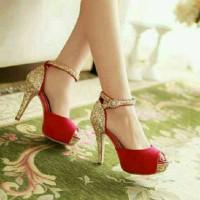 heels gliter gold red