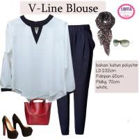 VLINE-BLOUSE WHITE BIGSIZE