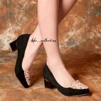heels suede black glitter