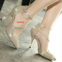 heels gold glitter
