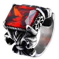 Cincin Pria The Crown Big Red Stone Ring - Batu Merah