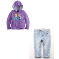 Setelan anak perempuan frozen set purple-atasan jaket celana jeans den