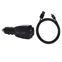 Wellcomm Dual Connector USB Car Charger 3.1A - Black