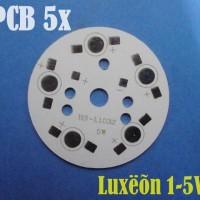 PCB Plate Aluminium LED LUXEON 1-5 Watt 5 Titik LED F49mm in Seri