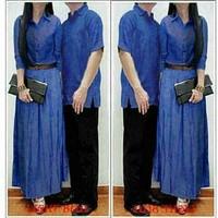 Dress kemeja couple denim rayon cp denim (biru) M