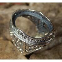 Gagang cincin perak motif ukiran wajik