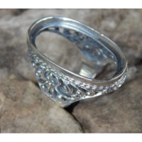 Gagang cincin perak motif ukiran patra tembus